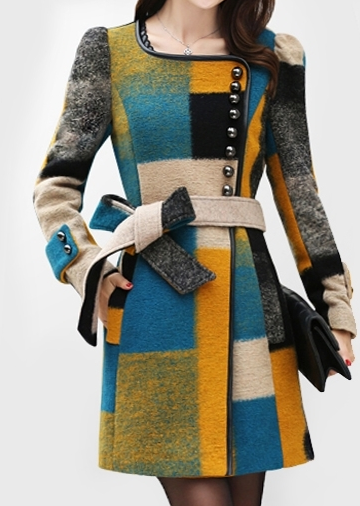 Color Block Wool Coat