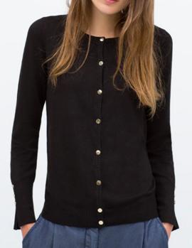 Zara Crewneck Buttoned Sweater
