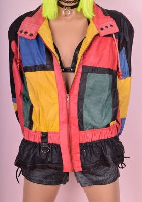 80's Color Block Leather Jacket