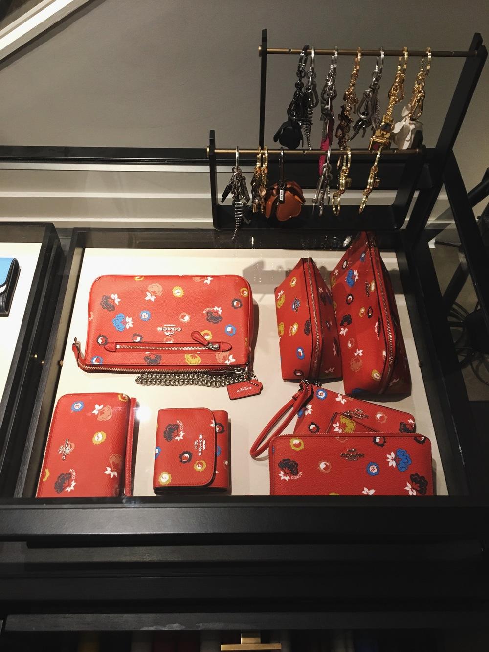 Coach 1941 Red Flower Design Accessories