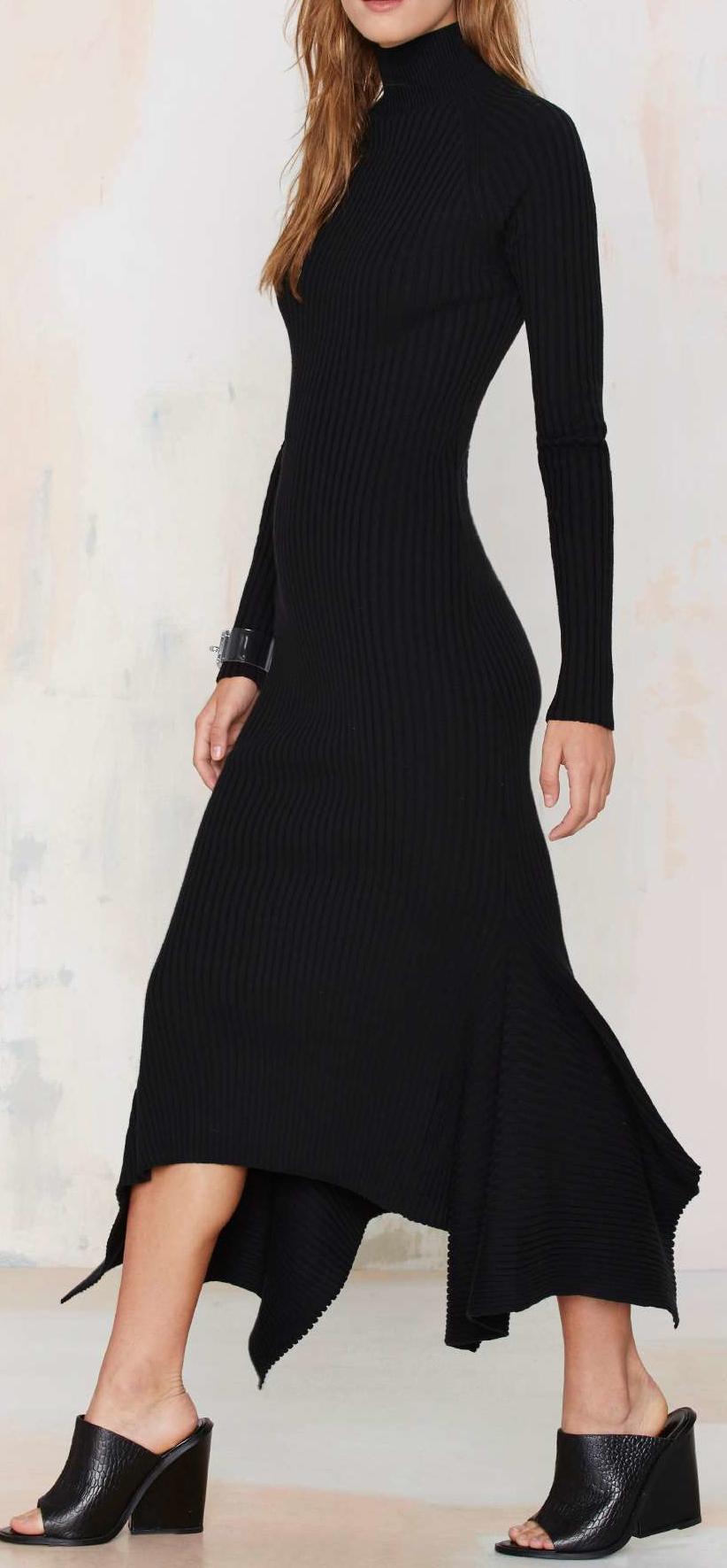 Nasty Gal Kozmic Ribbed Knit Maxi Dress