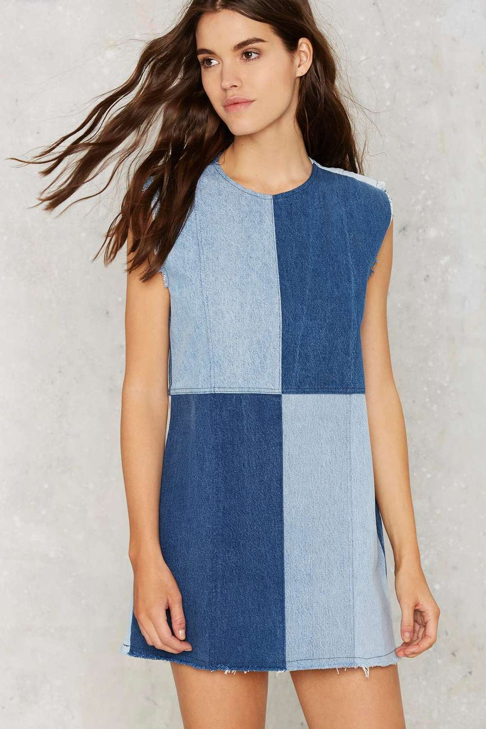 Patchwork Denim Shift Dress