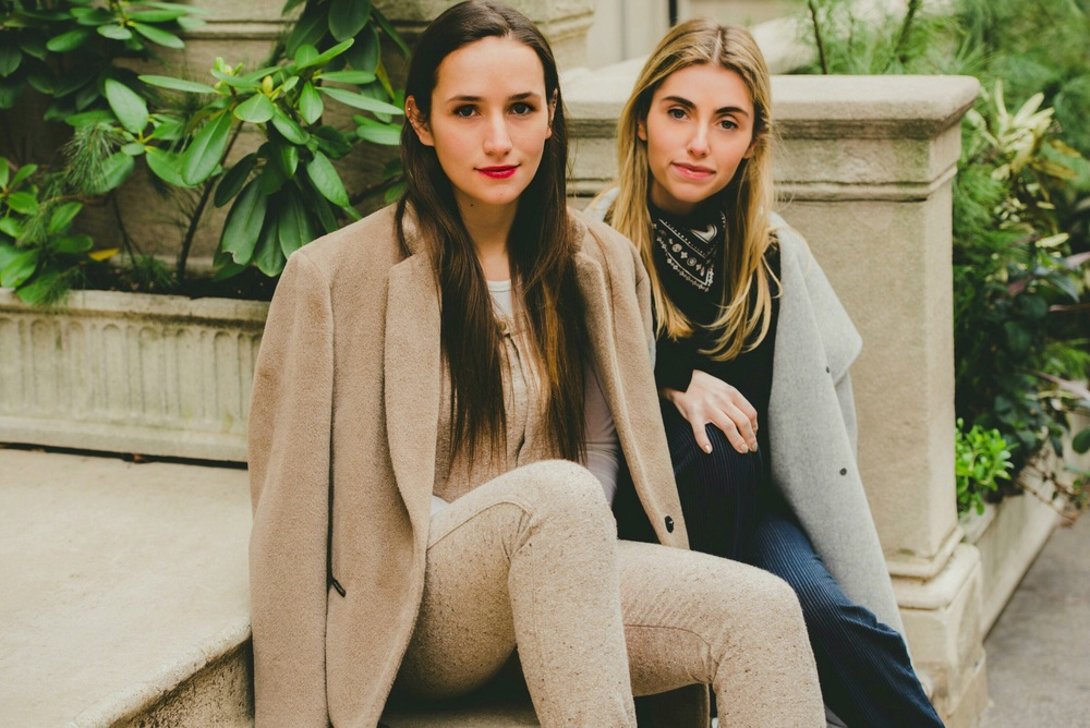 NYC Fashion Blogger Sisters in Overalls on Stairs