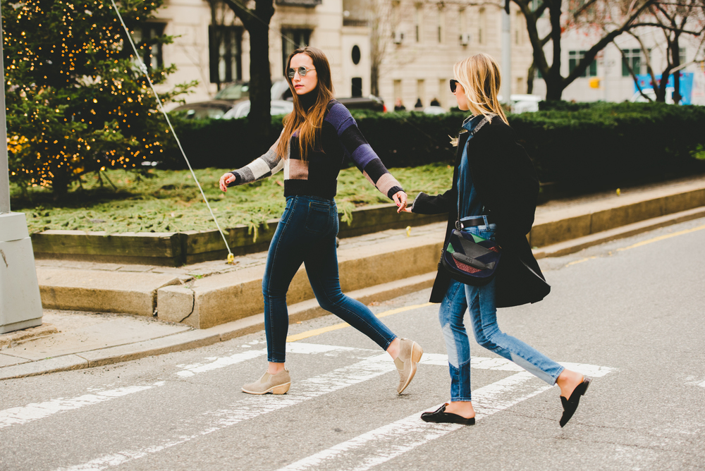NYC SISTERS STROLLING PARK AVE- NYC STREET STYLE