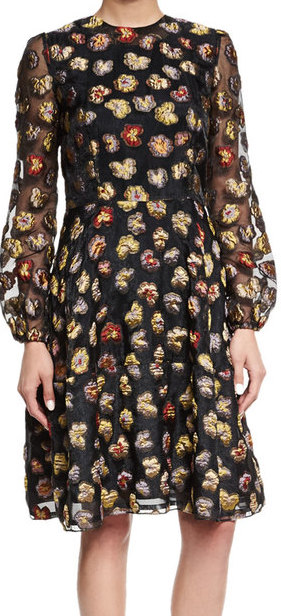 CO LONG-SLEEVE FLORAL DRESS