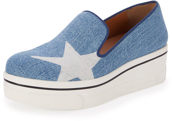STELLA MCCARTNEY DENIM STAR SLIP-ON SNEAKERS