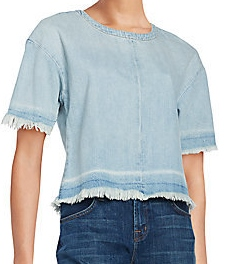 J BRAND FRAYED DENIM TEE