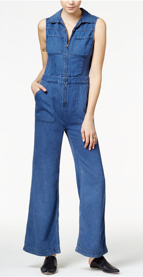 FREE PEOPLE ZIPPED DENIM JUMPSUIT