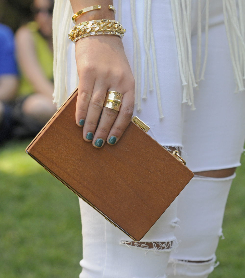 NASTY GAL WOODEN CLUTCH