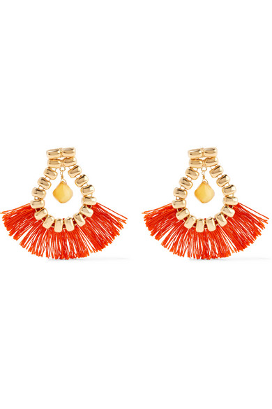 ROSANTICA FRINGED ORANGE/GOLD EARRINGS