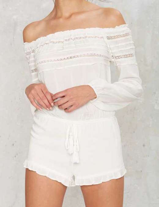 FACTORY OFF-THE-SHOULDER ROMPER