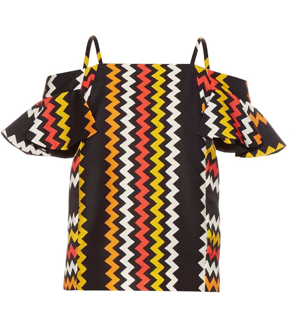 MSGM ZIGZAG OFF-THE-SHOULDER TOP