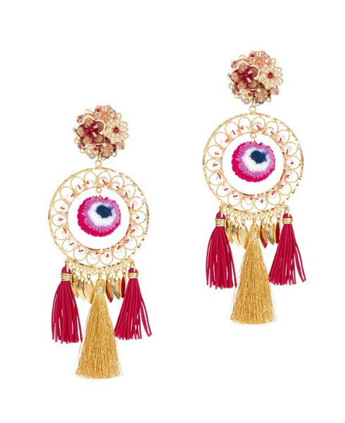 MERCEDES SALAZAR TASSEL CIRCLE EARRINGS