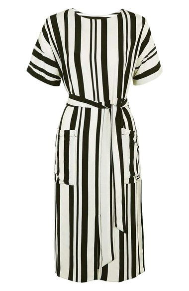 TOPSHOP STRIPED POCKET MIDI DRESS