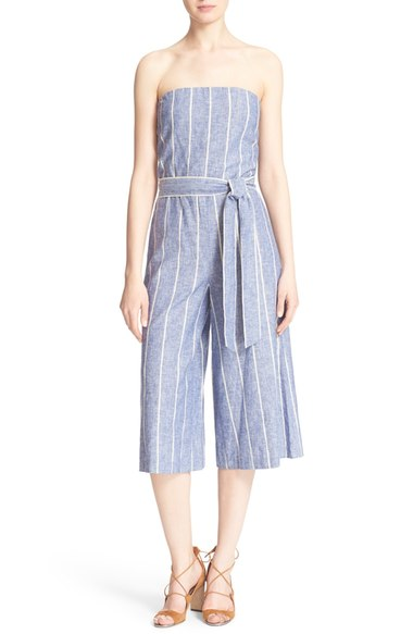 ALICE + OLIVIA 'LUCIE' STRIPED BUSTIER JUMPSUIT
