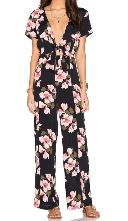 PRIVACY PLEASE 'KYAN' FLORAL CUTOUT JUMPSUIT