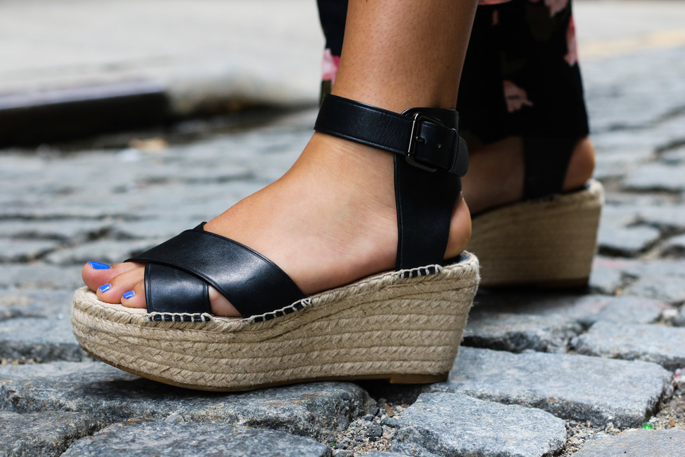 COACH 'PRIMROSE' BLACK PLATFORM WEDGE SANDALS
