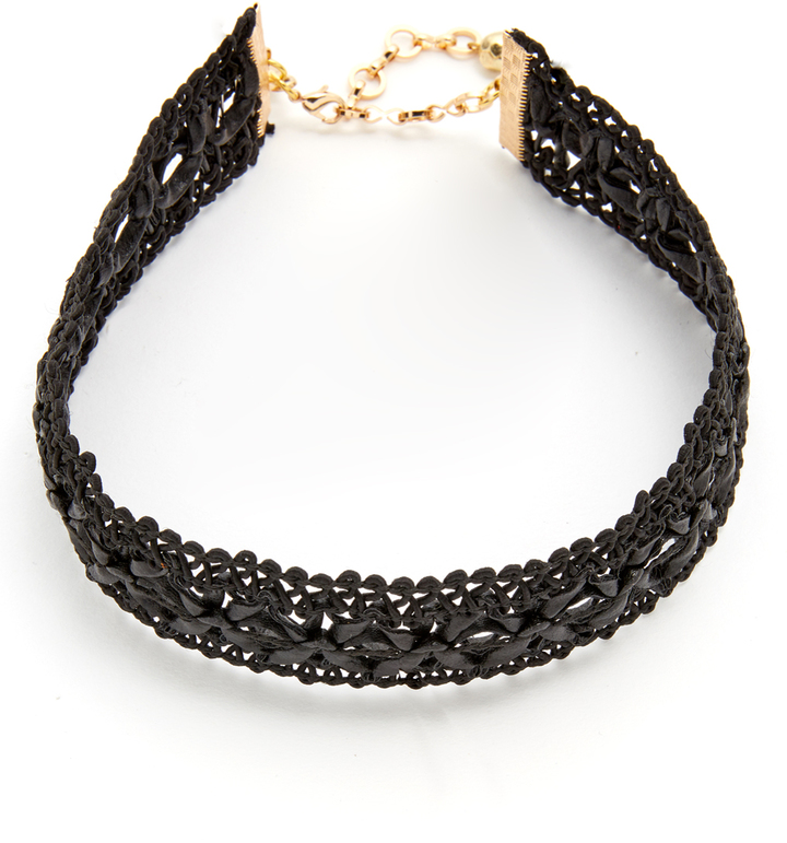 VANESSA MOONEY LEATHER LACE CHOKER