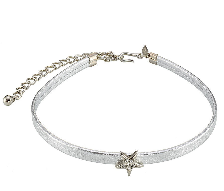 KENNETH JAY LANE METALLIC LEATHER STAR CHOKER
