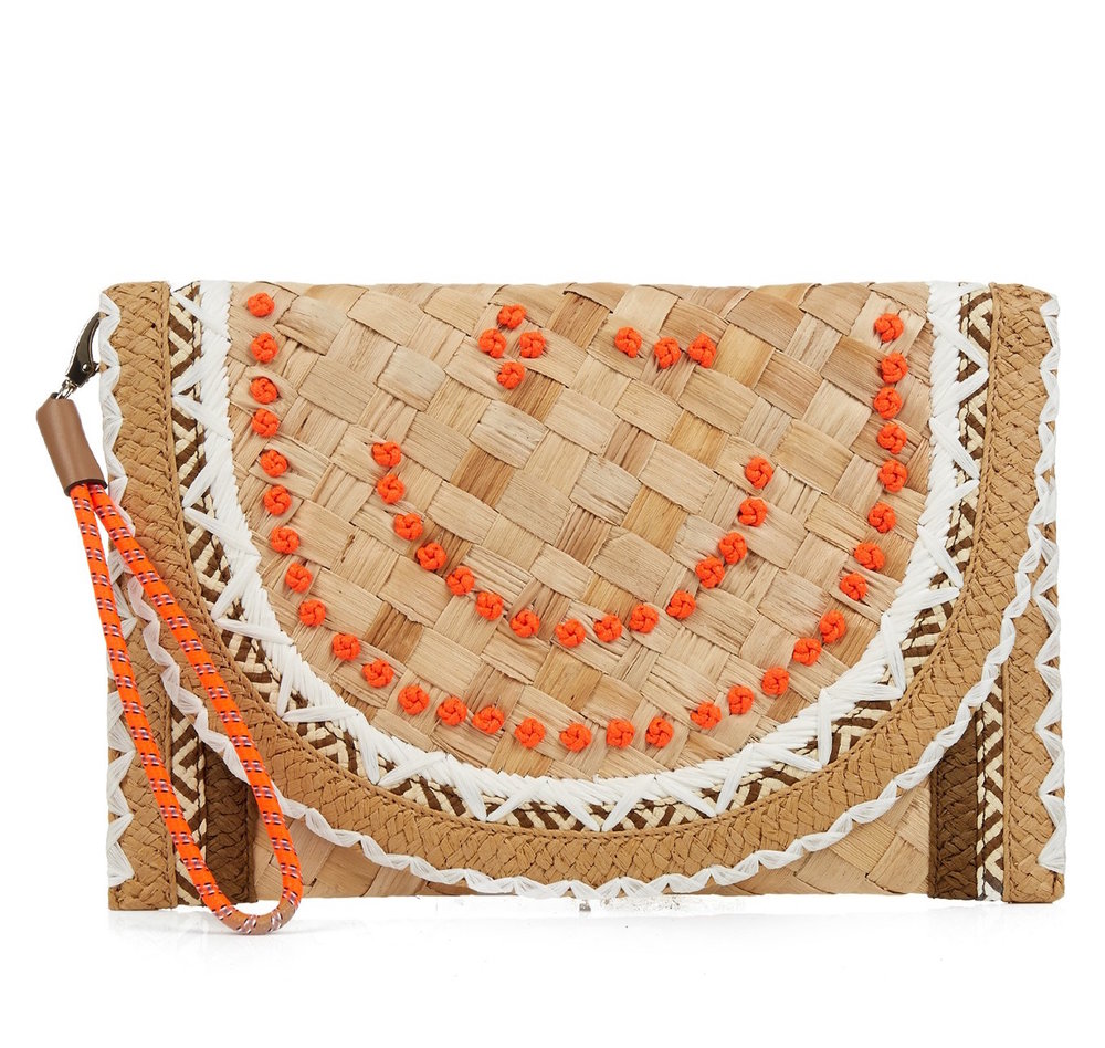 ANYA HINDMARCH 'WINK' STRAW CLUTCH