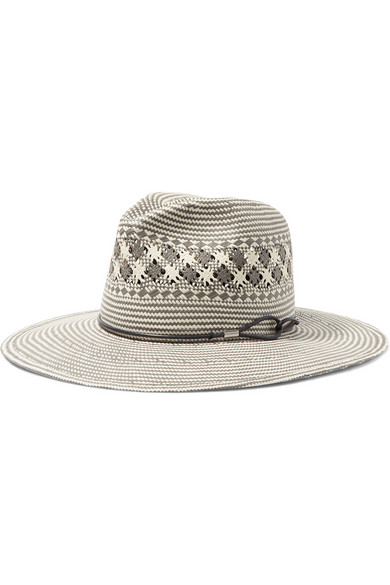 RAG & BONE LEATHER TRIMED STRAW FEDORA
