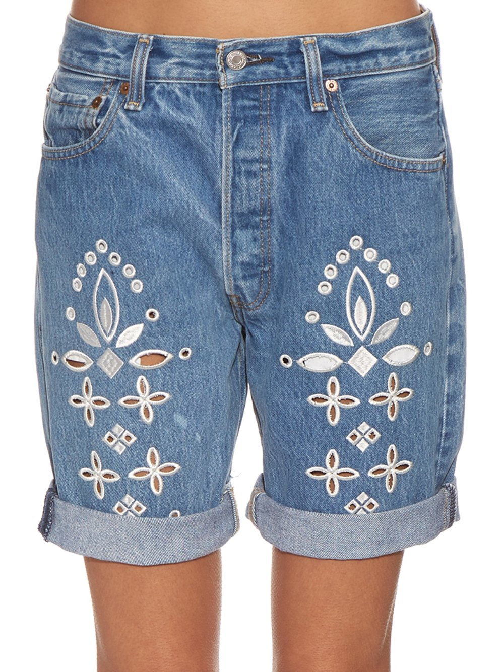 BLISS & MISCHIEF EYELET BANDANA DENIM SHORTS