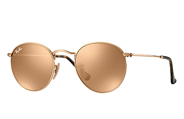RAY BAN ROUND GOLD FLAT LENS SUNGLASSES