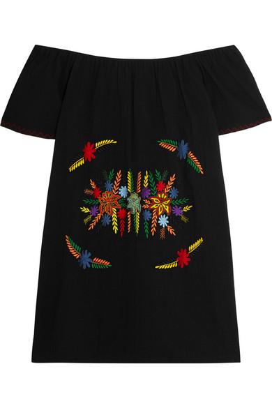 SENSI STUDIO OFF THE SHOULDER EMBROIDERED COTTON MINI DRESS