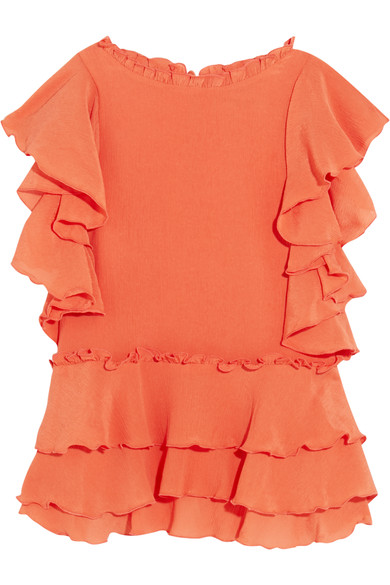 APIECE APART 'HACIENDA' RUFFLE SILK TOP