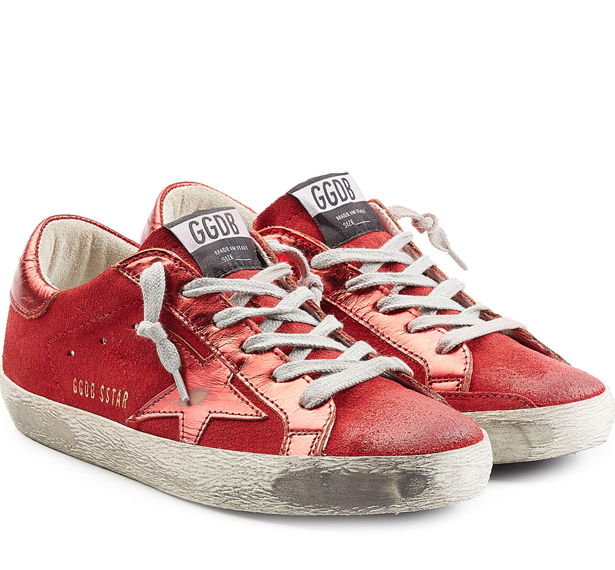 GOLDEN GOOSE SUPER STAR RED SUEDE SNEAKERS