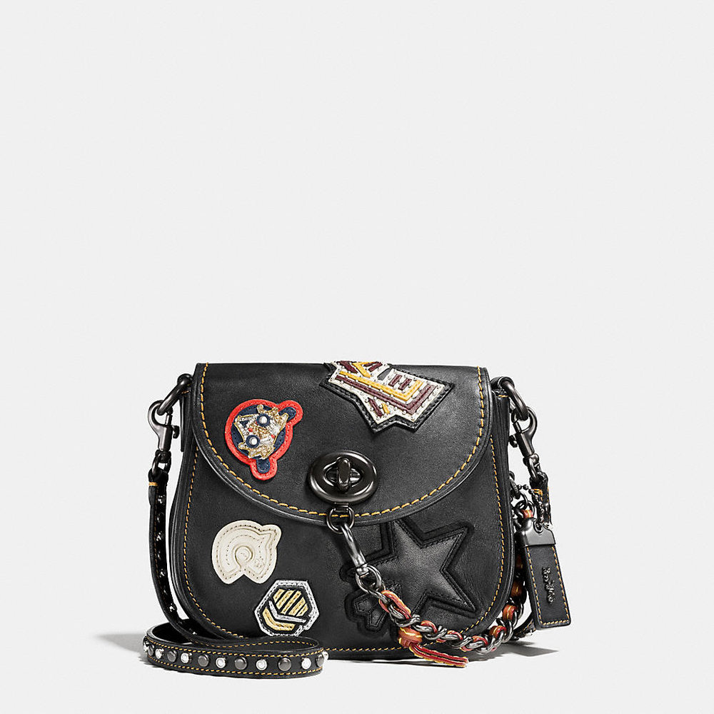 COACH VARSITY PATCH TURNLOCK SADDLE BAG