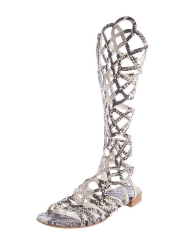 STUART WEITZMAN EMBOSSED GLADIATOR SANDALS