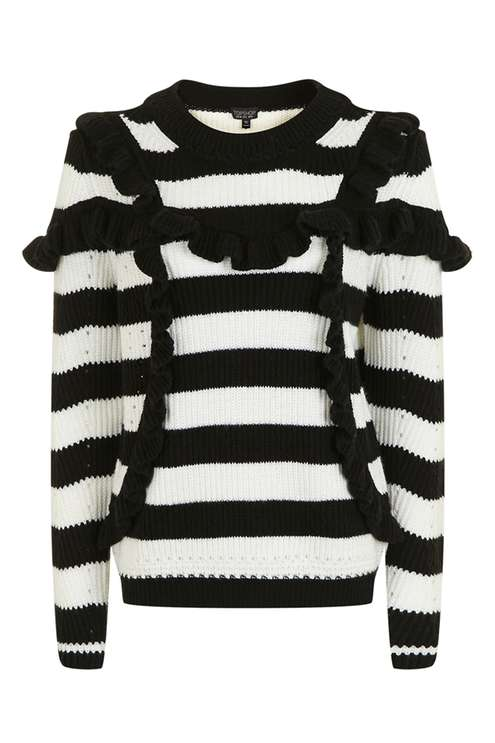 TOPSHOP STRIPE RUFFLE SWEATER