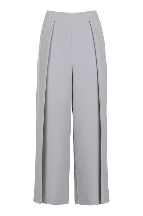 TOPSHOP GREY CROPPED WIDE LEG TROUSERS