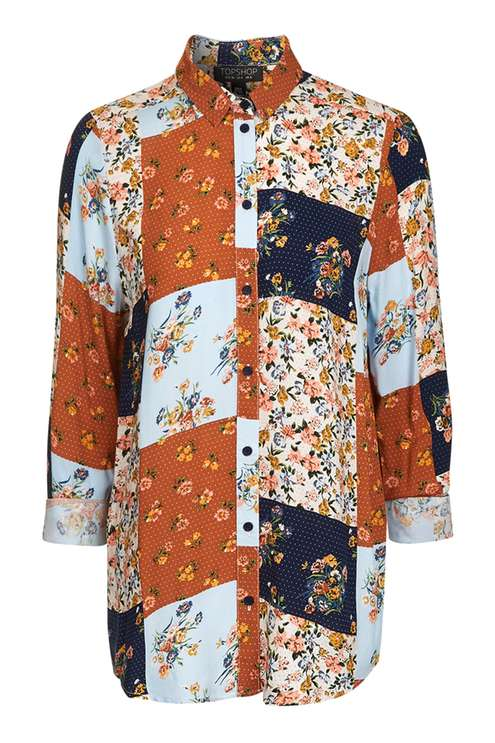 TOPSHOP LONG SLEEVE PATCHWORK SHIRT