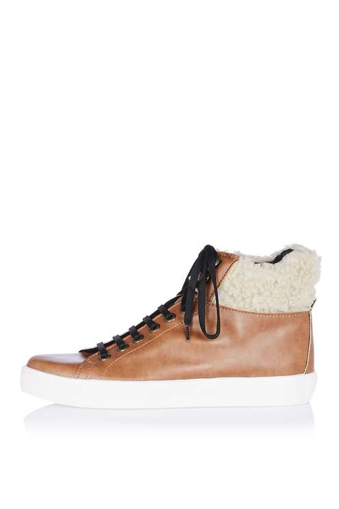 TOPSHOP KOOPER FUR LACE UP BOOTS