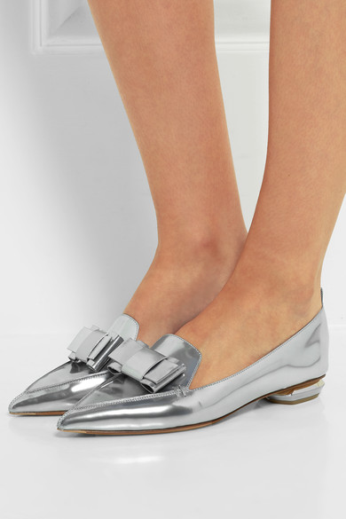 NICHOLAS KIRKWOOD EMBELLISHED METALLIC POINT TOE FLATS