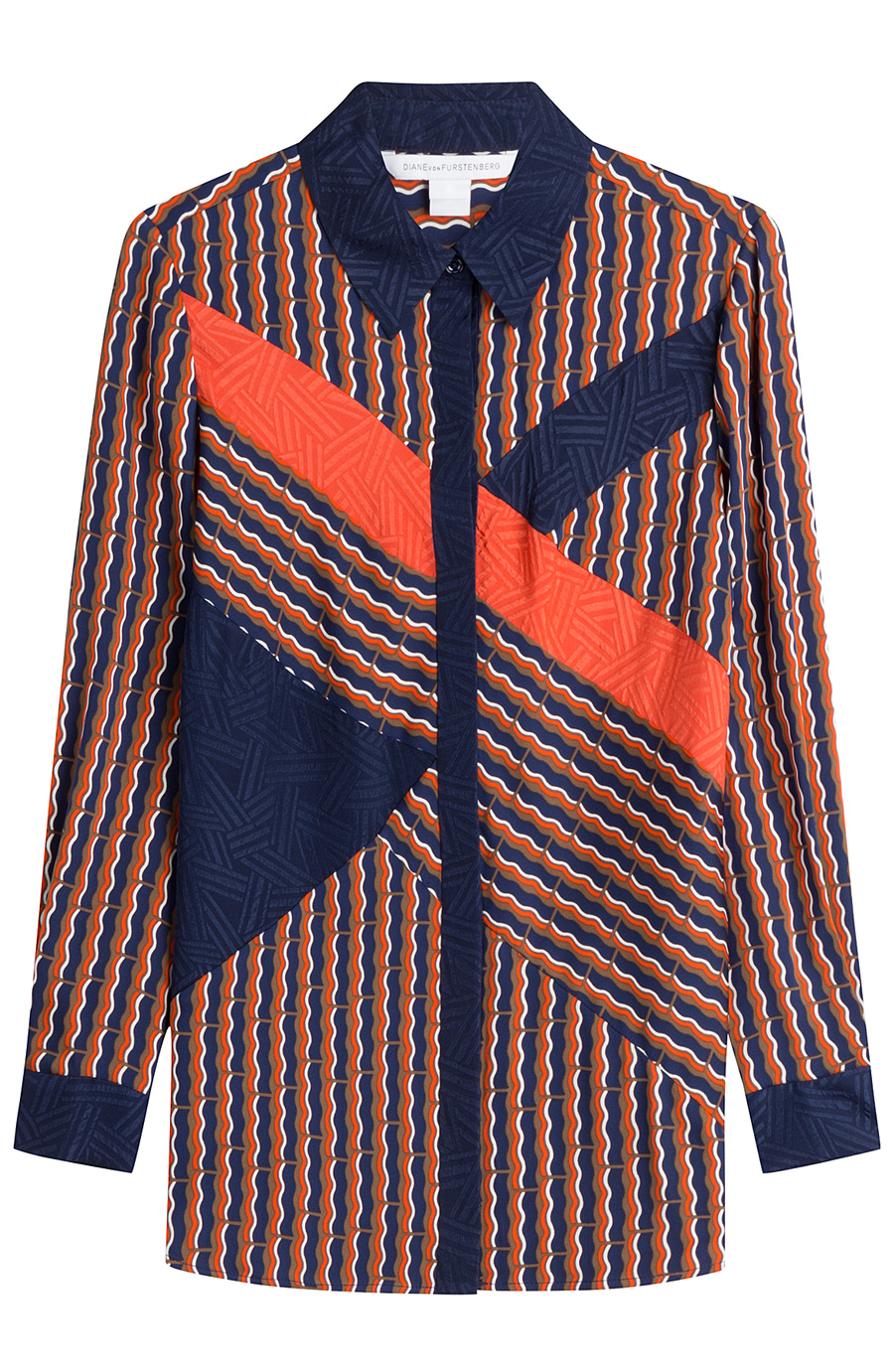 DVF NAVY & ORANGE SILK PAJAMA BLOUSE