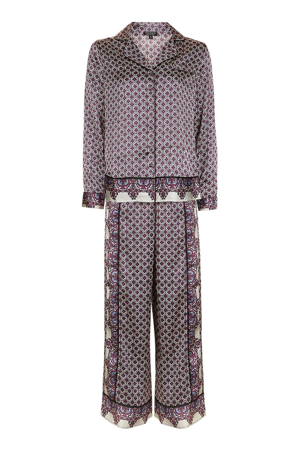 TOPSHOP TILE PATTERN SILK PAJAMA SET