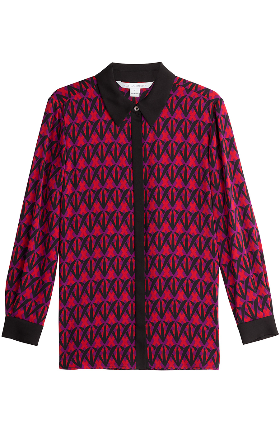 DVF PATTERNED SILK BLOUSE