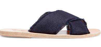 ANCIENT GREEK DARK DENIM CRISS CROSS SANDALS