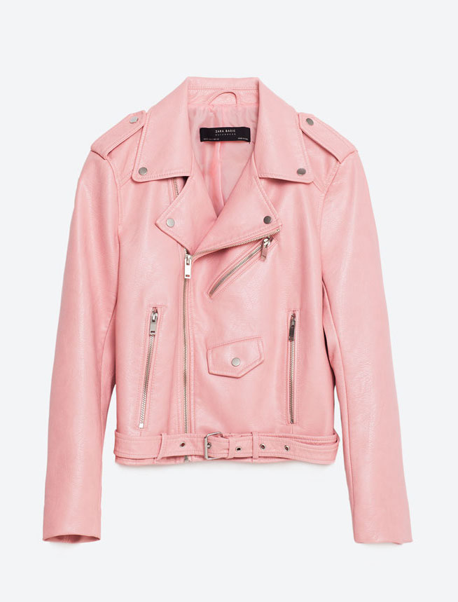 ZARA PINK FAUX LEATHER MOTO JACKET