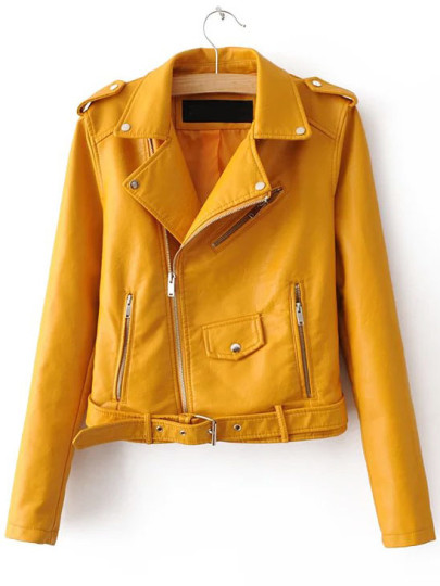 YELLOW FAUX LEATHER MOTO JACKET