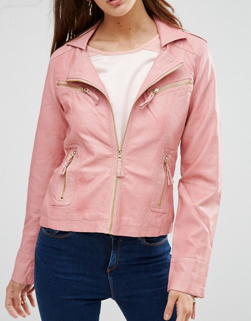 ASOS 'LAVAND' PINK FAUX LEATHER MOTO JACKET