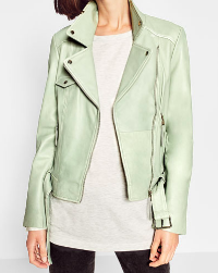 ZARA MINT FAUX LEATHER MOTO JACKET