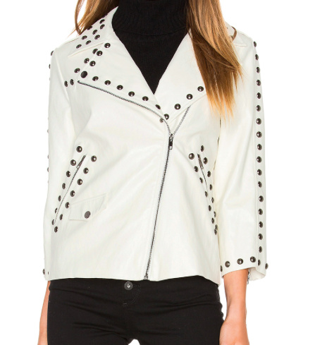 LINE & DOT STUDDED FAUX LEATHER MOTO JACKET