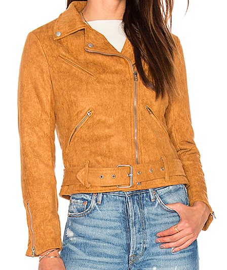 MADE FOR MILAN FAUX SUEDE BIKER JACKET