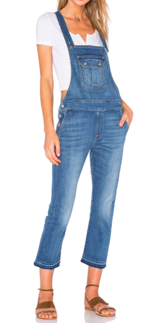 7 FOR ALL MANKIND CROPPED DENIM OVERALLS