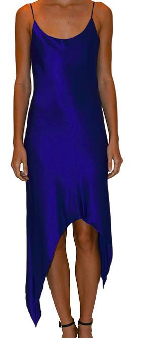 JUST DREW NYC ROYAL BLUE SLIP DRESS