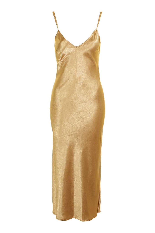 TOPSHOP TWO STRAP GOLD SILK MAXI SLIP DRESS